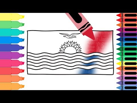 How to Draw Kiribati Flag - Drawing the I-Kiribati Flag - Coloring Pages for Kids | Tanimated Toys
