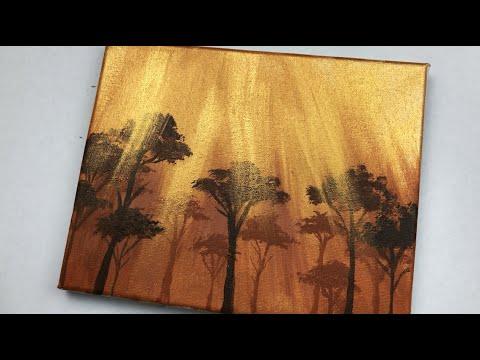 Acrylic Painting On Canvas Gold Metallic Acrylic Paint Easy Painting Ideas Youtube