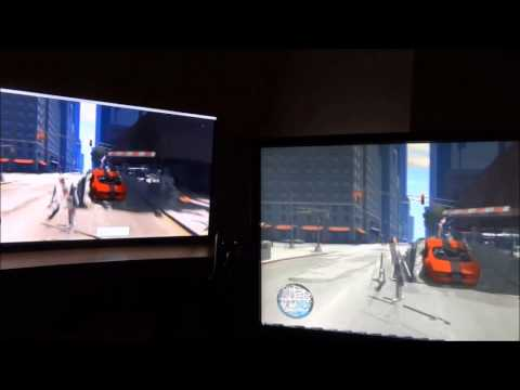 """Acer Xb280hk 28"""" vs Samsung F8000 55"""" TV (TV on left)"""