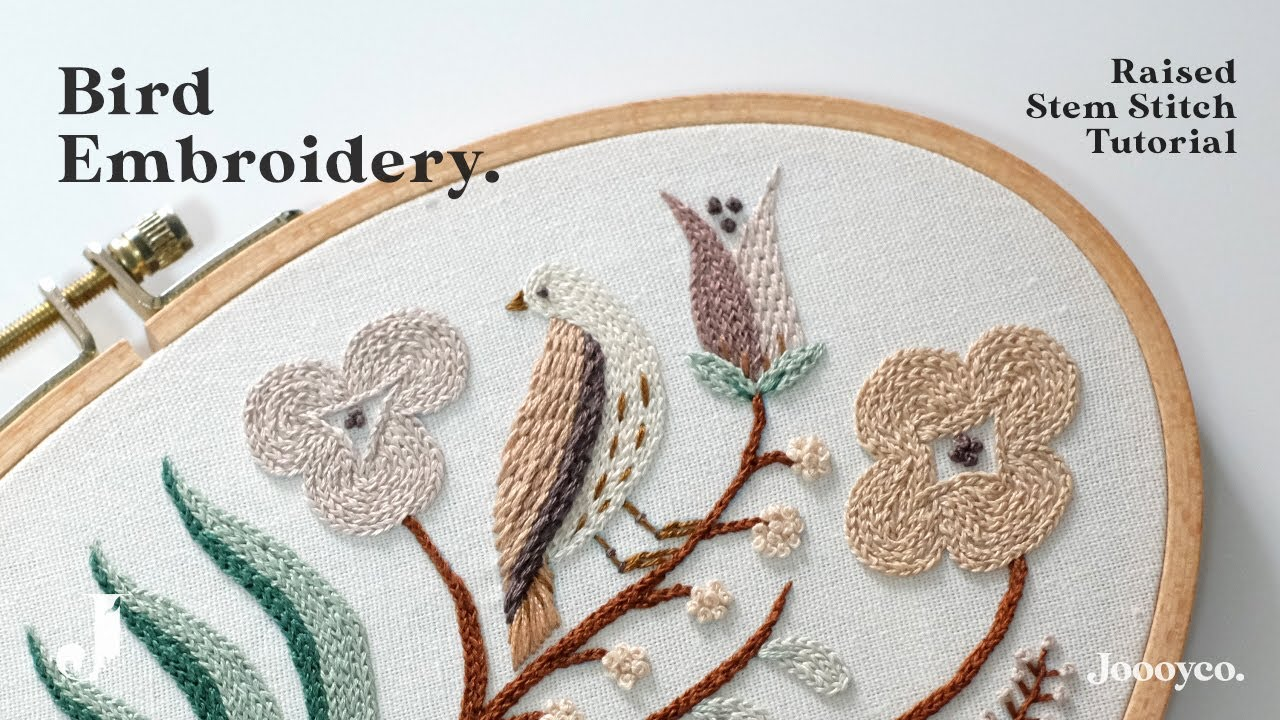 Bird Embroidery + Raised stem stitch tutorial (+free pattern)