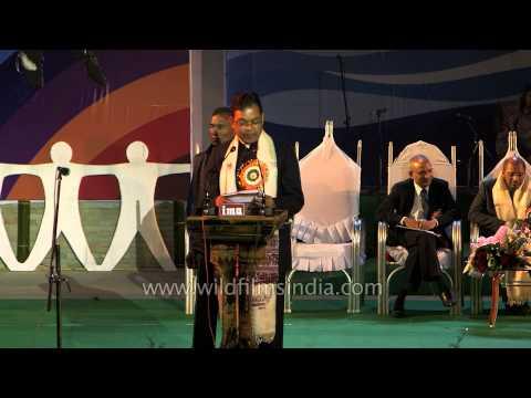 Parliamentary Affairs Ministers Pawan Singh Ghatowar addressing at Sangai Fest - 2013