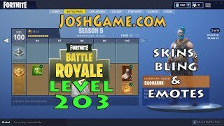 8 Year Old Level 203 Fortnite Battle Royale Progression Skins, Bling, & Emotes (JoshGameCom)
