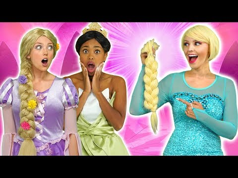 ELSA'S HAIR CUT. WILL SHE LOSE FREEZING POWERS? (With Rapunzel, Tiana, Belle and Kim Possible)