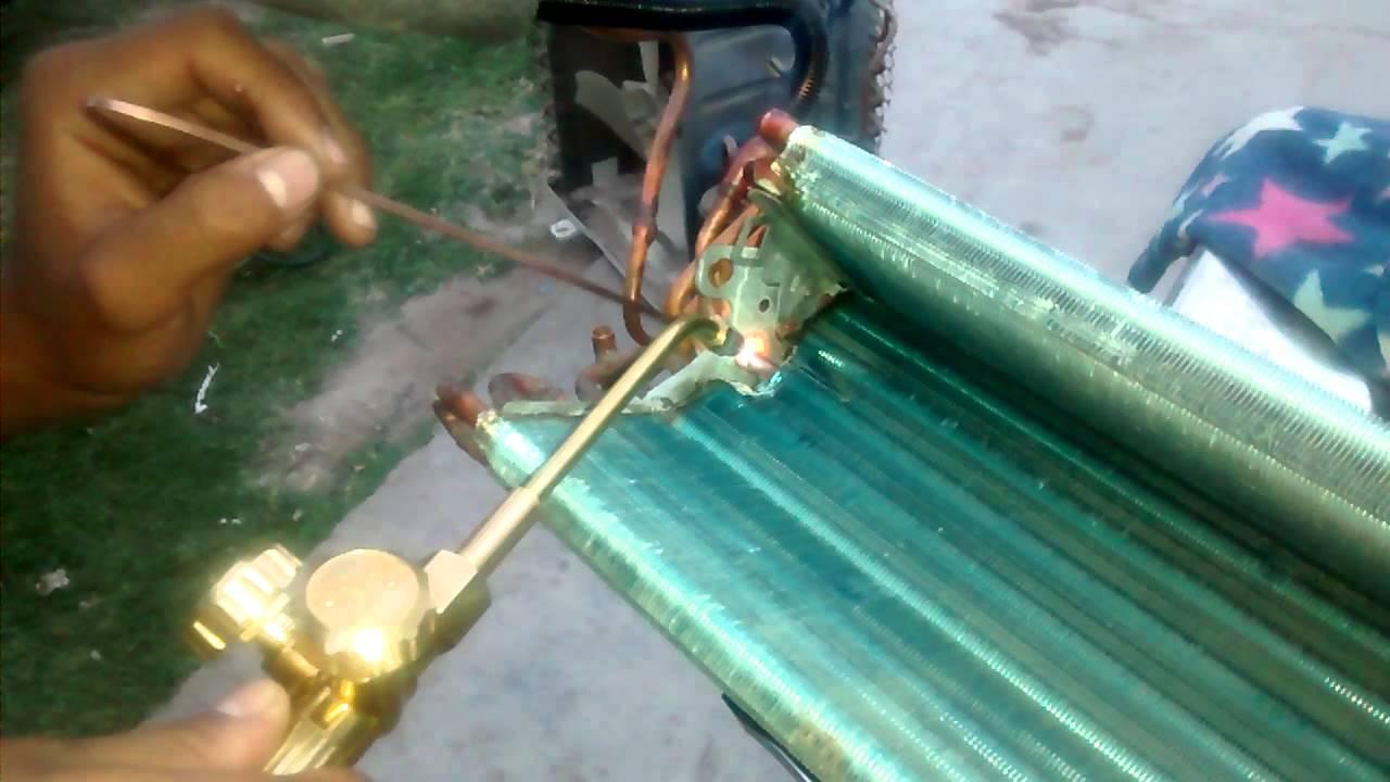 Como soldar evaporador de split parte interior youtube for Como soldar cobre
