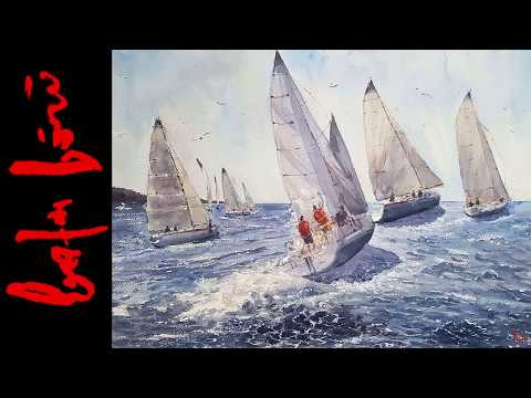 How to Paint Yachts - Watercolor Painting Demo (Long Version)