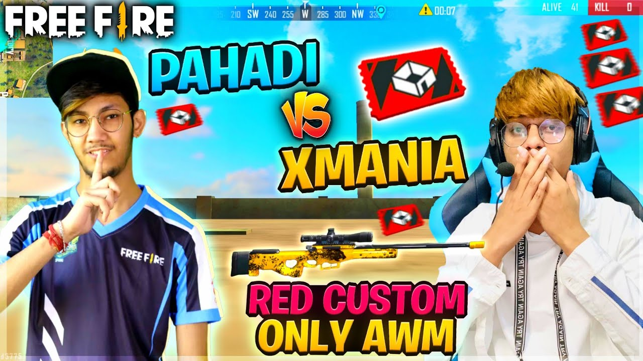 Xmania Vs Pahadi Red Custom Only Awm #pahadi #Xmania #FreeFire
