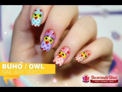 U as decoradas con simp ticos b hos de colores owl nail - Ver unas decoradas ...