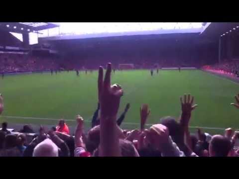 Arsenal fans after Podolski's goal