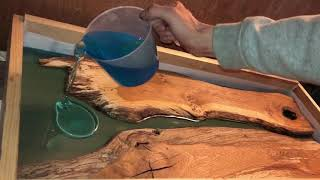 Oak resin river table