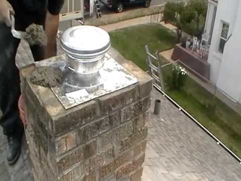 Furnace liner installation in chimney - YouTube
