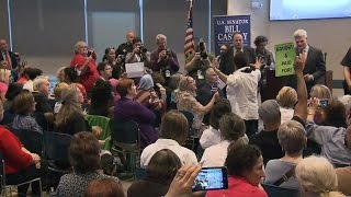Angry constituents confront lawmakers at town halls