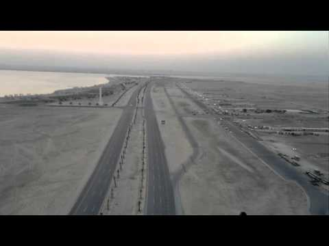 Paragliding at halfmoon beach in saudi arabia
