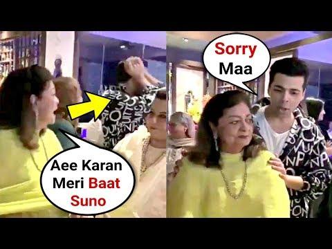 Karan Johar Mother Hiroo Johar Shouts On Him For Not Listening To Her