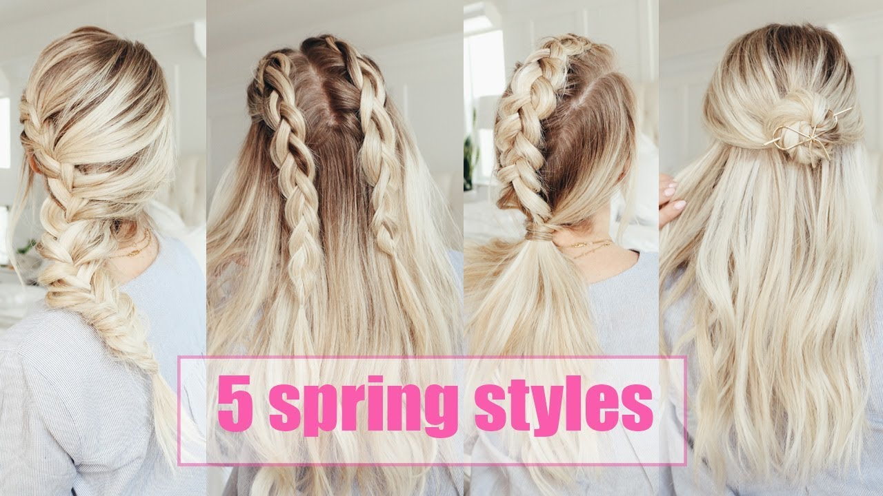 5 cute hairstyles for spring! | easy | twist me pretty