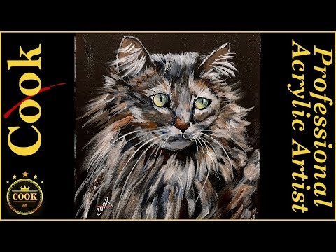 How to Paint Fur and Eyes on a Long haired  Cat for the Beginner Acrylic Painter