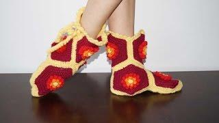 Сапожки из шестиугольников крючком / Сrochet bootes