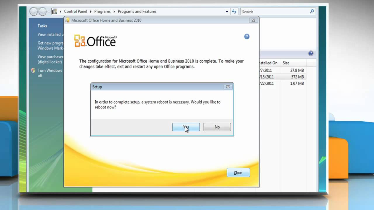 Repair Microsoft® Office 2010 to fix installation problems on Windows® Vista