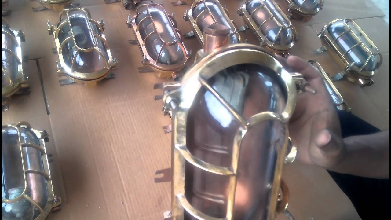Marine salvage antiques ent brass bulkhead lights youtube for Outboard motor salvage yard