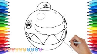 How to Draw Super Mario Odyssey, Chain Chomp #9 | Drawing Coloring Pages for Kids