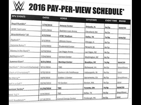 Wwe pay per view schedule