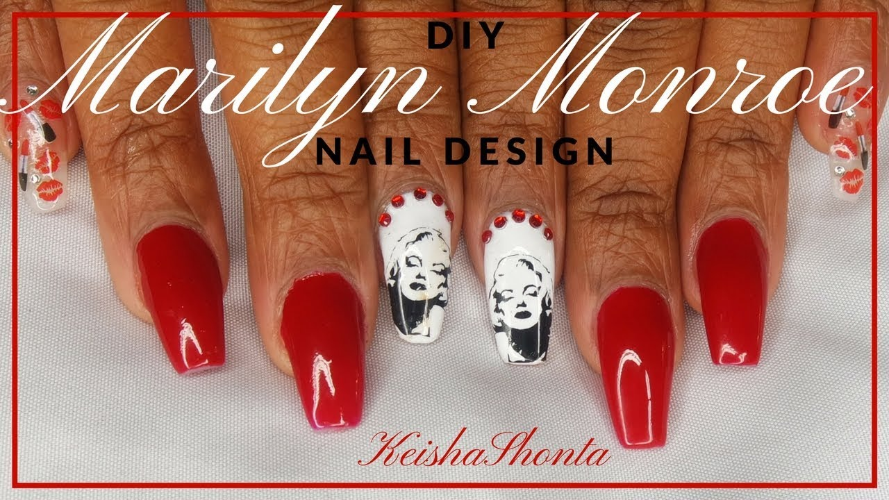 MARILYN MONROE ACRYLIC NAIL DESIGN!! - YouTube