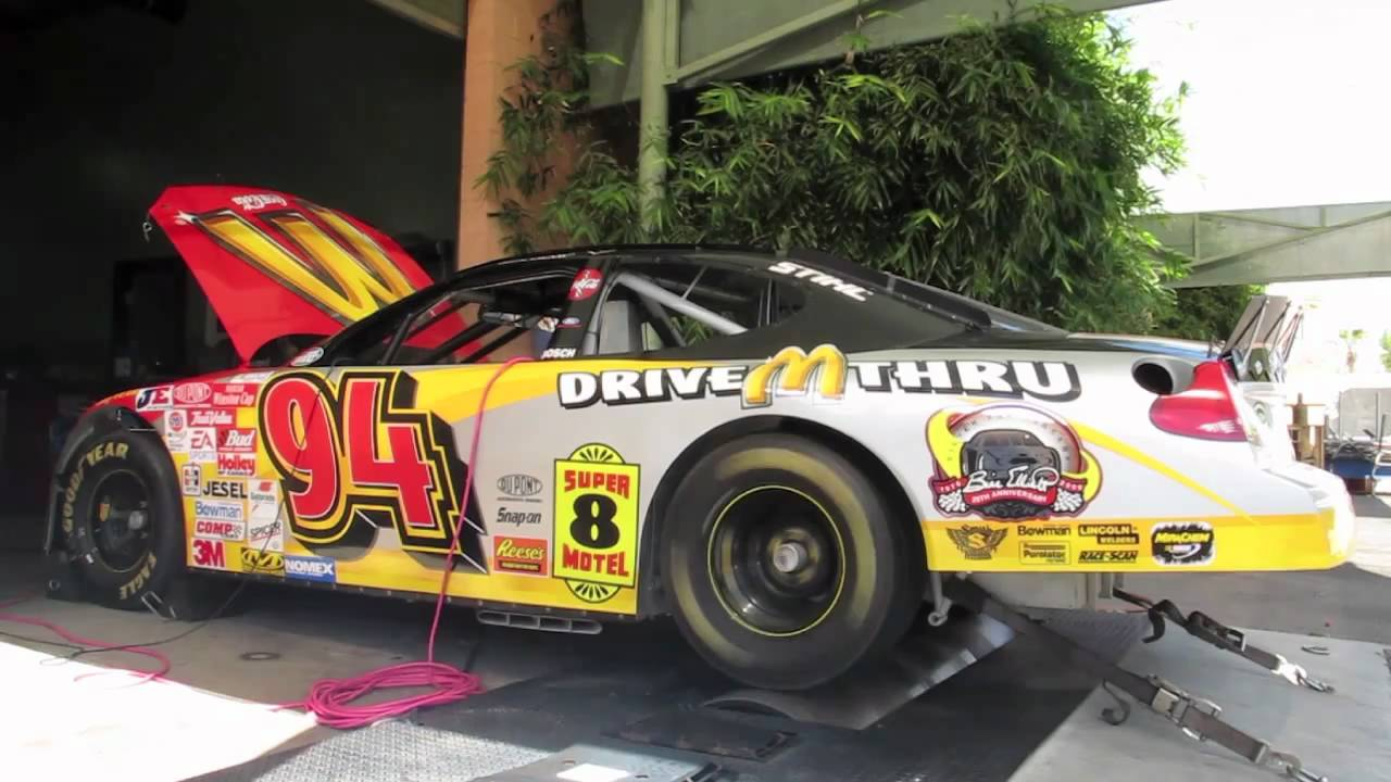 Bill Elliott #94 McDonald\'s NASCAR road race car on chassis dyno ...