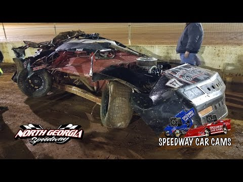 A-Hobby Feature with a Crash and Roll on 11-11-17 at North Georgia Speedway