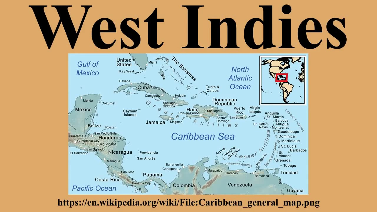 Geography map of Caribbean countries. on