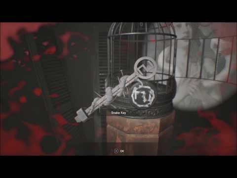 Resident Evil 7 Bedroom dlc Get Snake Key by Use Fork Make Serpent Shadow