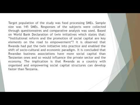 Social Capital in Selected Business Associations of Food Processing SMEs in Tanzania and Rwanda A Sy