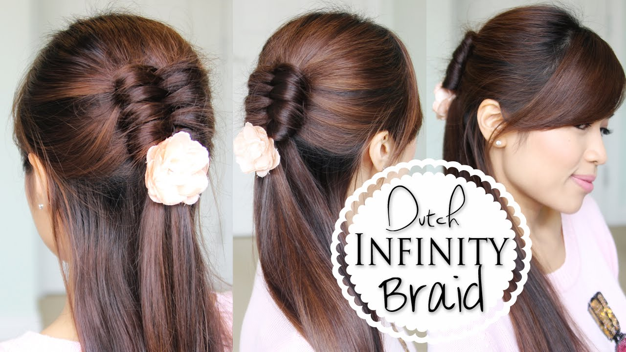 Dutch Infinity Braid Tutorial Half Updo Prom Hairstyles Youtube