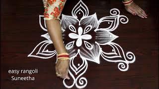 5 dots cute muggulu designs || easy rangoli Suneetha || new kolam rangoli