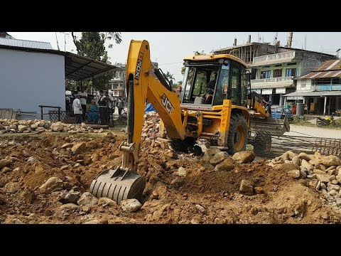 JCB Digger Working For Home Construction - JCB COLLECTING STONES - JCB VIDEO