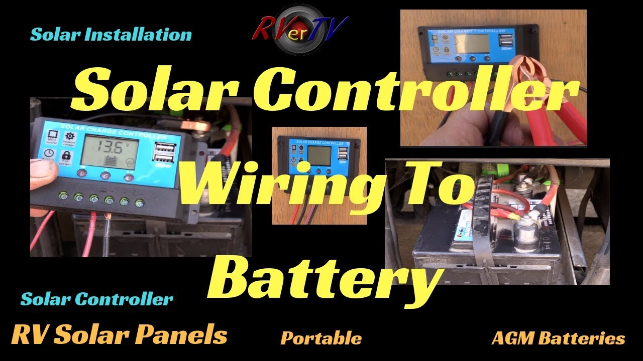 rv solar controller wiring to a 12volt battery rv solar panel rv solar off grid battery charger  [ 1280 x 720 Pixel ]