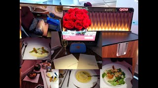 The Best Food and Dining in the Sky! 2019 SkyTrax best airline Qatar Airways Business Class A350-900