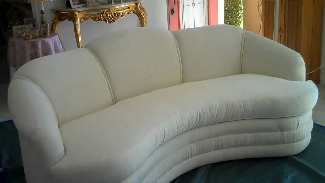 Cleaning Process Of A White Cotton Sofa