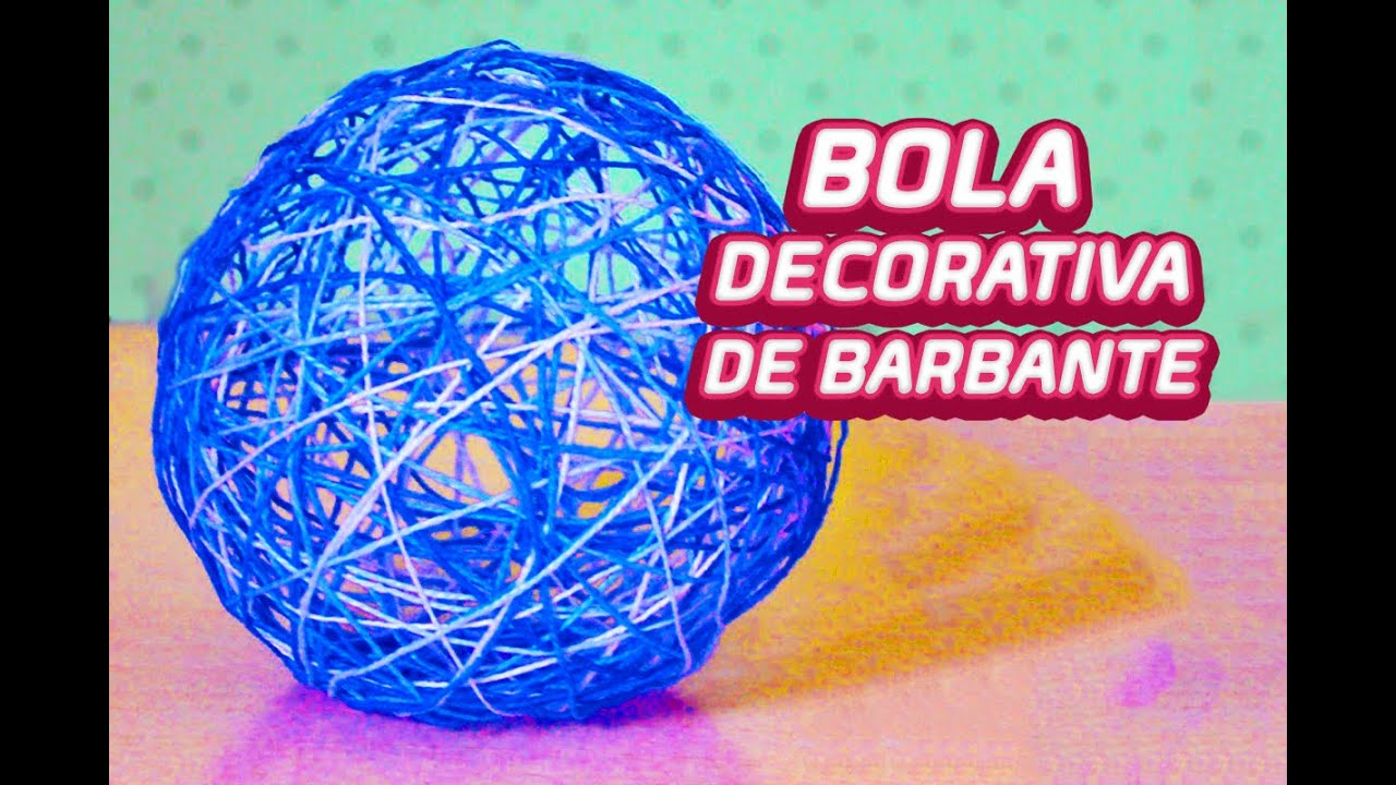Bola decorativa de barbante simples e f cil youtube for Bolas para piscina de bolas