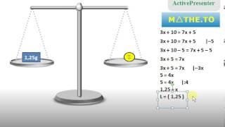 Umformen von Gleichungen an Waage erklärt (Äquivalenzumformungen)