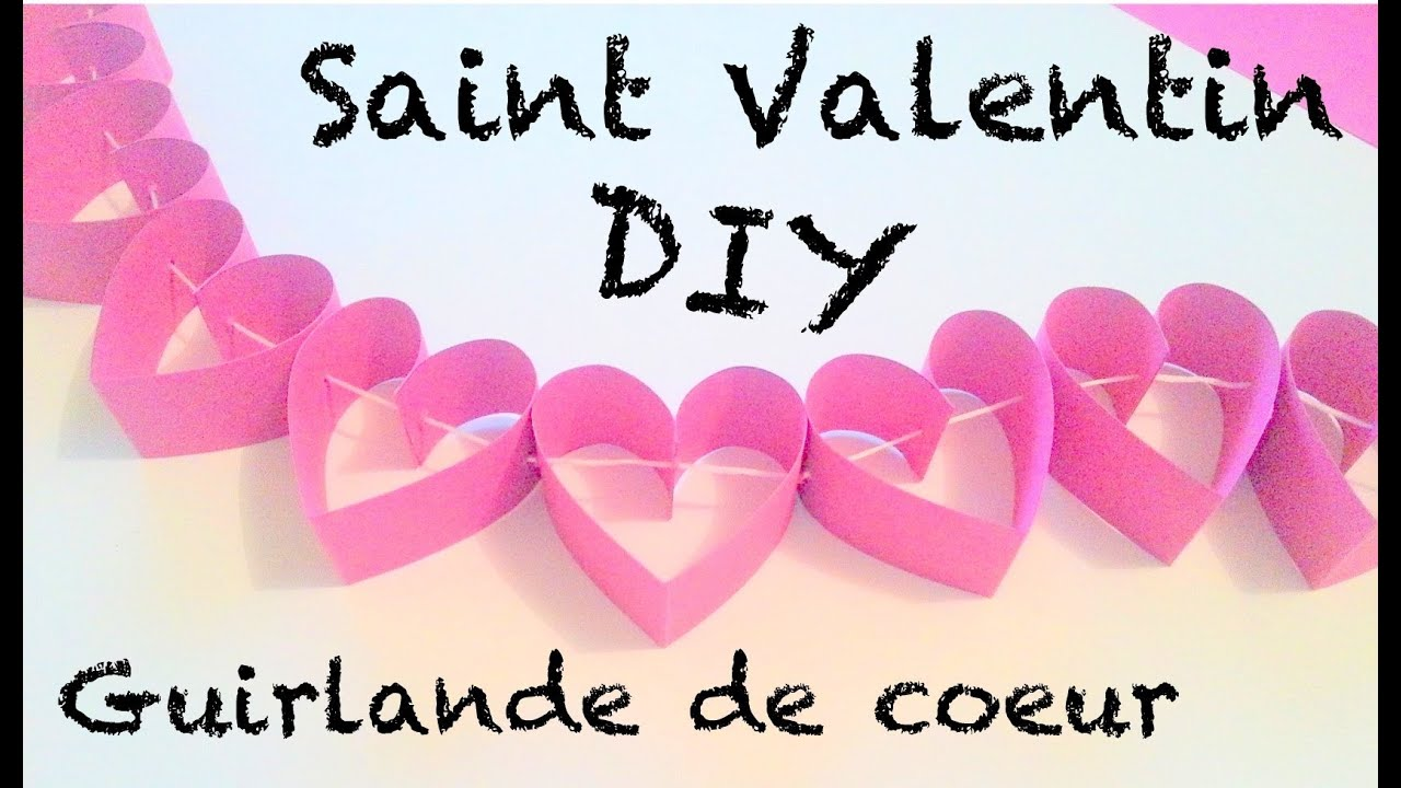 diy d co saint valentin guirlande de coeurs en papier youtube. Black Bedroom Furniture Sets. Home Design Ideas