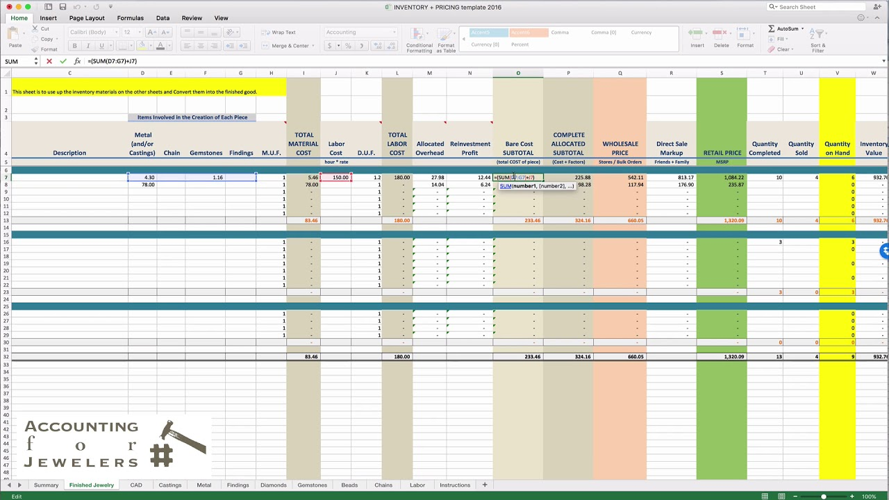 Implementing organizations are required to perform their own evaluations and due diligence. Inventory Tracking And Pricing Spreadsheet Tutorial By Accounting For Jewelers Youtube