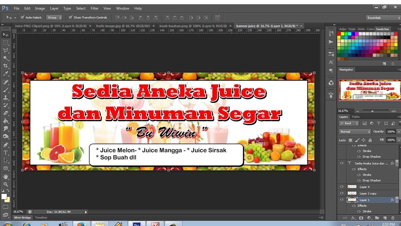 Desain Banner Usaha Juice Dan Sop Buah Youtube