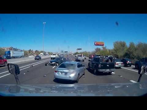 Tailgating fail- Crash captured on my dashcam in Phoenix, Arizona  Choque