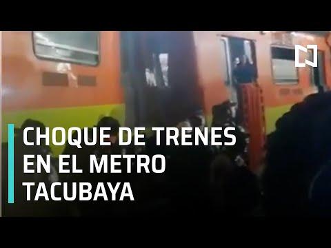 Chocan dos trenes en metro Tacubaya en el STC de la CDMX.