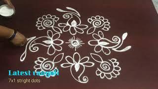simple creative  kolam rangoli design with 7x1 straight dots || creative rangoli designs