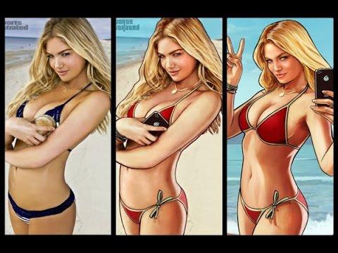 Пять девушек пляж бикини