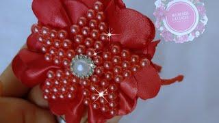 Flor de pérolas na tiara e dicas