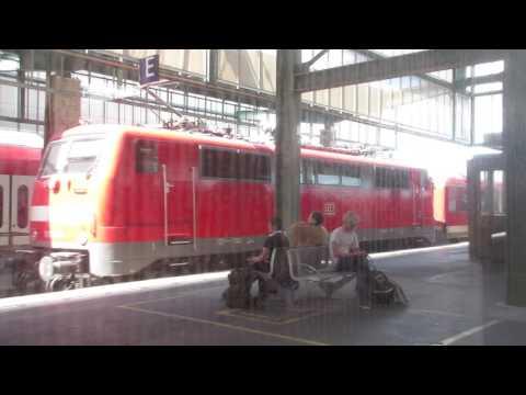 Germany: DB Regio class 111 electric loco leaves Stuttgart Hbf on a service to Tubingen