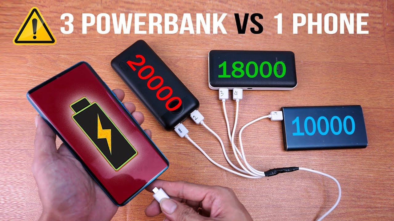 NGECAS 1 HP vs 3 POWERBANK (3 Power Bank One Phone Experiment) Quick Charge 4.0?