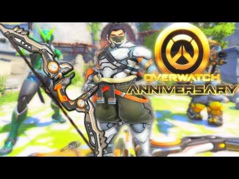 Overwatch - ANNIVERSARY LOOT BOXES BEST LUCK EVER, ALL NEW SKINS, HANZO NEW SKIN & ULT ( Gameplay _