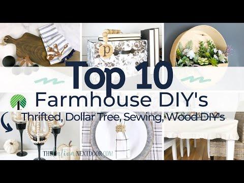 TOP 10 FARMHOUSE DIYs | FARMHOUSE HOME DECOR DIY | DOLLAR TREE FARMHOUSE HOME DECOR DIYs